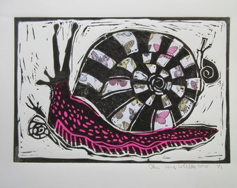 Linocut Print Big And Little Snails with Pink Collage Papers
