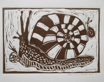 Linocut Print Big And Little Snails in Sepia Ink