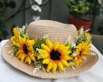 Haku lei, sunflower,Lei Po'o,Head Lei,Flower Crown, artificial flower