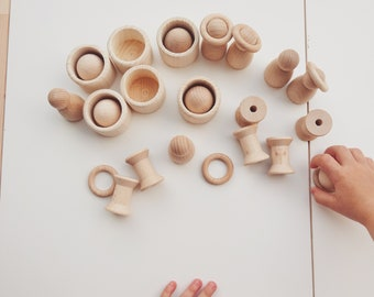 Cone figures Montessori / Create it your Montessori activity set / Wooden cup Montessori / Montessori activities baby / Toddler games