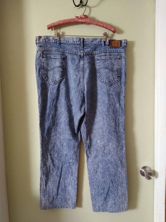 Men's 42x28 Lee Jeans // Vintage 1980s Acid Wash - image 3