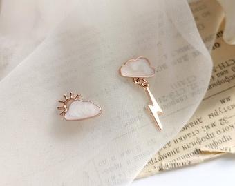 Cloud & Lightning Shaped Ear Studs,Cute Mismatched Earrings,Sterling Silver,Korean Earrings,Birthday,Gift for her