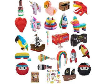 Pinata Set 22 Motifs to Fill with Beat Stick and Glasses Unicorn Games Controller Heart Ninja Rocket Cake Party Birthday Game Decoration