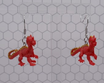 Tiny red and gold dragon fantasy toy earrings dangle