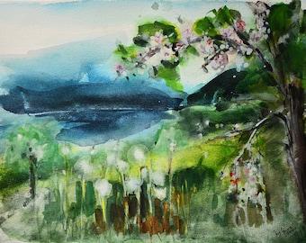 Original  Watercolour Painting, Landscape,