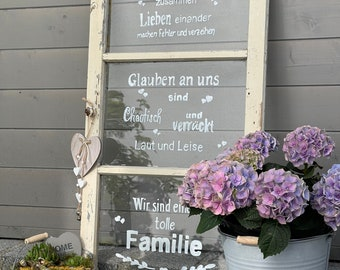 Old window decorative window with individual lettering saying garden decoration Shabby