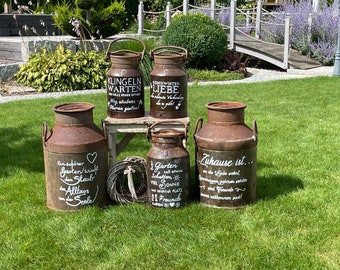Rusty old vintage milk jug made of iron with saying* individual lettering * garden decoration* rust decoration