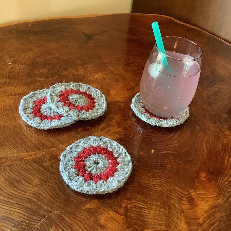 Starburst Coaster  Acrylic Crochet  Machine Washable image 0