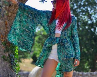Silk kimono bell sleeve, blouse blouson, Japa style dress, paisley green copper