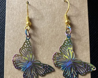 Mardi Gras Patricks Day Rainbow Nickel Free Rainbow Oil Slick Leaf Earrings LGBTQ Leaf St Gift Nickel Free Fishhook Ear Wire Earrings