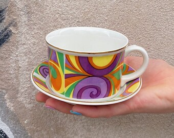 Enoch Wedgwood Crescendo Teacup and Saucer Set from 1968 | 60s decor | psychedelic pattern | Fun coffee mug | vintage English porcelain