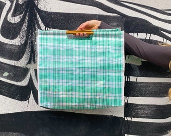 Vintage handmade checkered shopping bag with wooden handle   grocery market bag   large green bag   reworked plastic bag