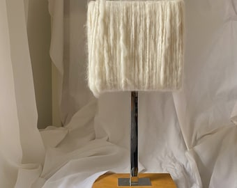 Art deco touch lamp in geometric shape wool shade, wooden base, & metal chrome neck | working | vintage nightstand light | white lamp