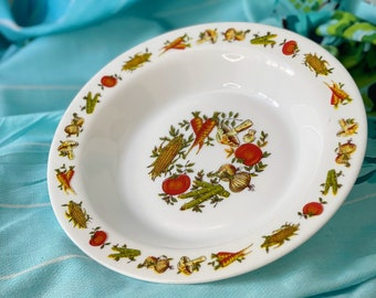 Arcopal France veggie glass bowl deep plate | Autumn fall decor | vintage farmhouse vegetable print serving bowl