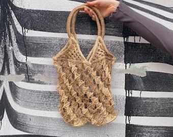 Vintage, crochet bag with handles   boho jute straw handmade shopping tote   macrame beach bag   beige and brown shoulder bag   70s 80s