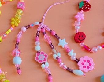 Repurposed beads y2k tassel phone charm with pink beads