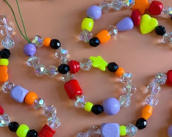 Repurposed beads y2k phone charm with real Jet, fluro and pastel