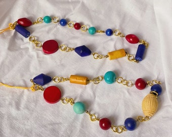Repurposed beads y2k phone charm with colourful wooden beads and metal rings
