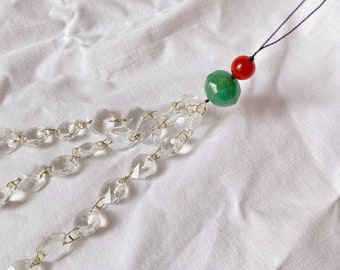 Phone charm made from repurposed fine stone beads and chandelier crystals