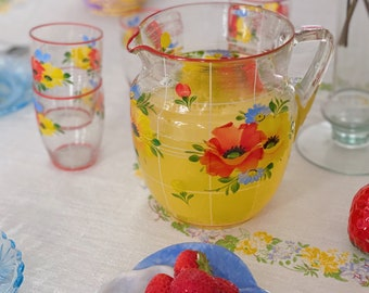 1950s hand painted floral lemonade set with pitcher and cups | vintage picnic summer dining accessories | vintage jug and drinking glasses