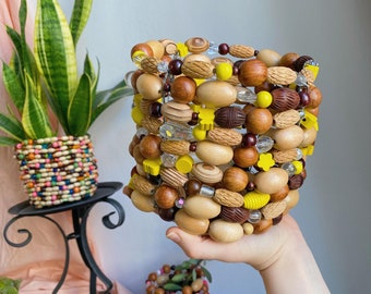 Pineapple yellow plant pot handmade from repurposed beads