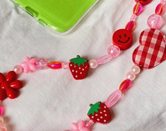 Repurposed beads y2k phone charm with colourful beads strawberry