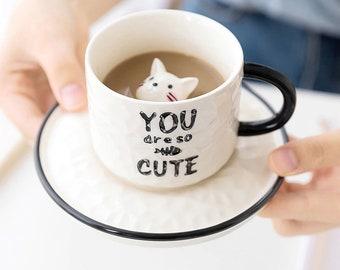 cute cat ceramic cup  hand-painted cartoon animal cup  mug set Ceramic Cup Best Gift for Tea Milk Coffee