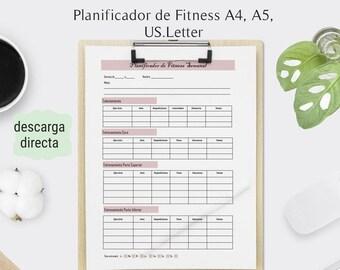 Planificador de Fitness Semanal en Español. Planificador para imprimir.