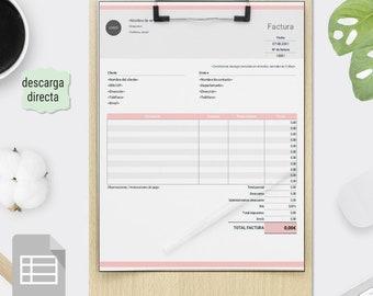 Plantilla de Factura rellenable en Euro, Plantilla de Factura para Pequeñas Empresas EXCEL. Recibo de facturación, Factura editable.