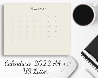 2022 Calendario en Español. . A4 +US. Letter. Descarga Directa. Calendario en Español. 12 Hojas por PDF.