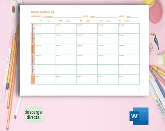 School and Study Planner editable in Word A4. Study Planner. Planner in Spanish.  Direct Download.