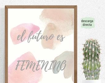 Frase en Español. Cita en Español para Decorar. Imprimible en Español. Descarga Directa. Arte Latina.