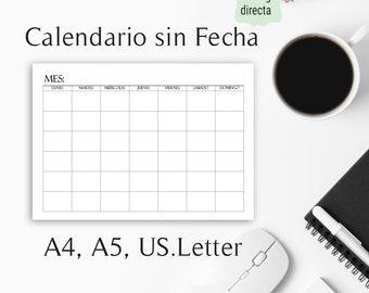 Calendario sin Fecha en Español. Calendario Neutral para Imprimir en Español. Minimalista. Calendario Mensual.