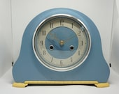 Upcycled vintage Mantel Clock (sky blue) - Art Deco style with new battery movement