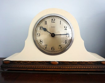 Upcycled 1960's Mantle Clock - a Genalex clock converted to AA battery and given a makeover