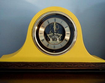 Yellow Retro Napolean Hat mantle clock (AA battery power) - a 1960's clock upcycled to a modern style