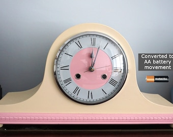 Mantel Clock upcycled and converted to AA battery movement - strawberries and cream Napolean Hat clock