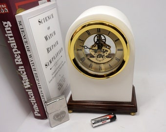 Upcycled Mantel Clock with new SKELETON quartz (AAA battery) movement