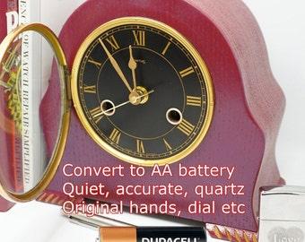 I can Convert your clockwork clock to a quartz movement (AA battery) - maintain original hands, dial, glass etc