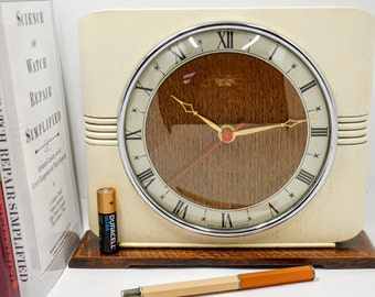 Cream Mantel Clock - retro 1950s upcycled to modern colours (AA battery) - was Smiths Sectric