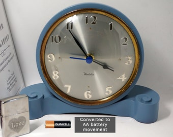 Westclox Desk / Mantel Clock - converted to AA battey - upcycled in slate blue finish