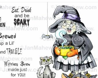 Witches Brew Digital Stamp Set- Instant Digital Download
