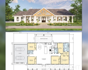 Cedar Springs Barndominium House Plan Design - 4 Bed 3 Bath - Double Garage - Drawings Blueprints