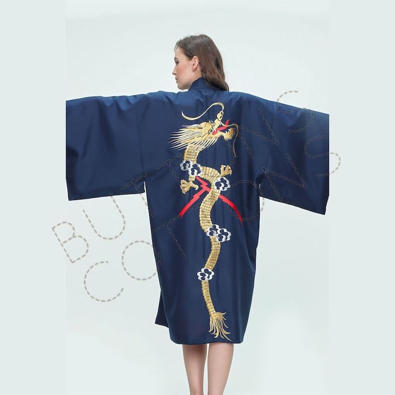 3. Dragon Embroidery Satin Kimono