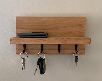 Key Holder With Shelf   Entryway Rack   Mask Hanger   Wall Mount