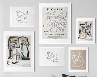 Picasso Greige Gallery Wall Art Set of 6 Print Picasso Poster Affiche Picasso Wall Art Picasso Exhibition Poster Picasso Print Pablo Picasso