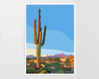 Saguaro National Park Poster | Cactus Print | Colorful Wall Art