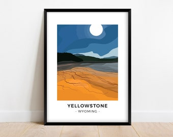 Abstract Yellowstone National Park poster of Grand Prismatic Spring, Colorful modern Wyoming travel poster