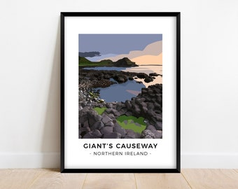 Northern Ireland print of the Giant's Causeway, Minimalist travel poster, Modern coastal wall art, Gift for travelers