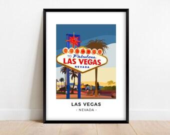 Las Vegas poster, Nevada travel poster, Minimalist wall art